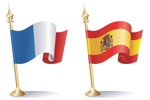 France and Spain Flag